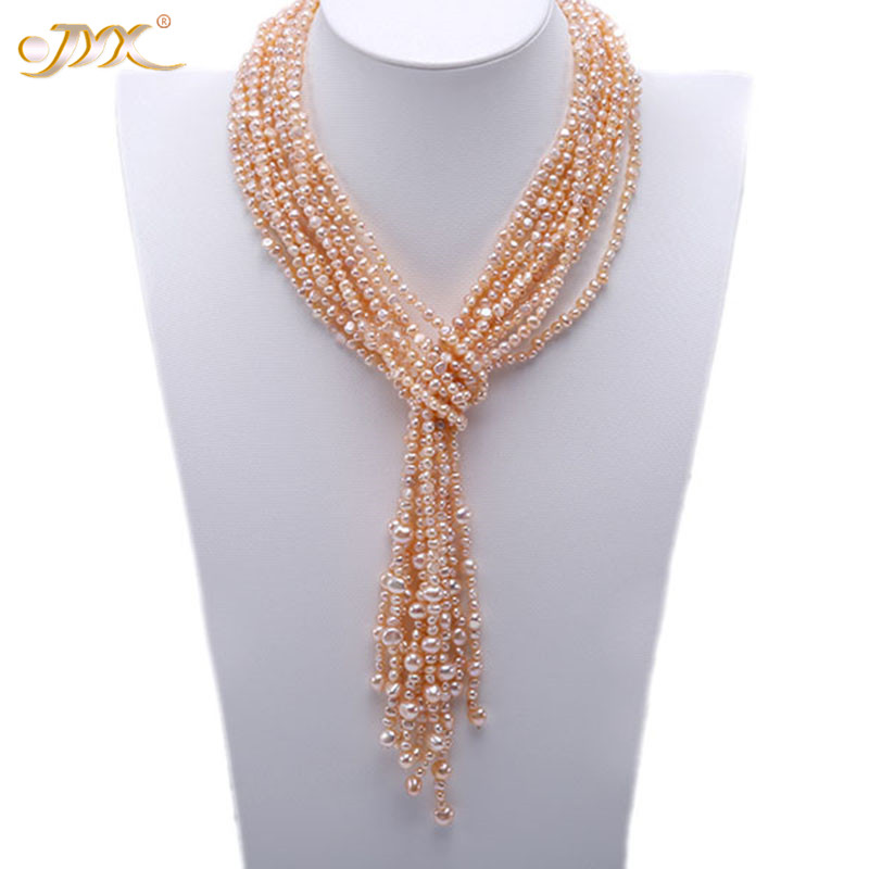 JYX Fashion style women necklaces Pearl 4-5mm Natural Pink Flat Freshwater Pearl with natural Baroque Pearls