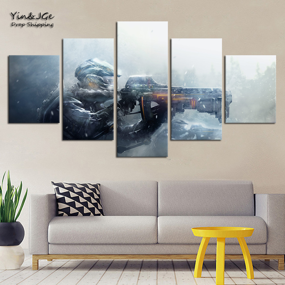 HD Printing Modern Decoration For Kids Room Wall Art Poster 5 Pieces Gun Gaming Painting Frameworks Modular Canvas Pictures
