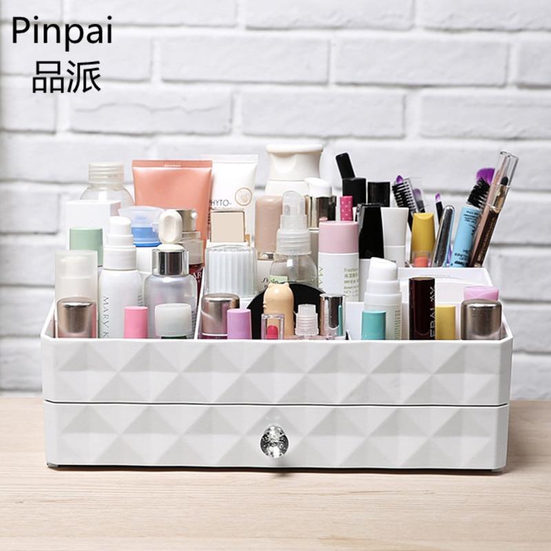 цена на Cosmetic Organizer Drawer Makeup Case Suitcase Paste Lipstick, Gloss Holder Box Cosmetic Bag Organizer Shelf