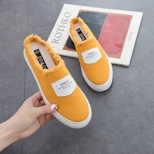 Image 4 - Femmes vulcaniser chaussures été nouvelle mode femmes pantoufles toile chaussures chaussures plates décontractées couleur unie décontracté décontracté mode baskets