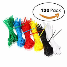 Xingo 8 Inch Nylon Cable Zip Ties with Self-Locking 6 Colors 120Pieces Assorted Plastic Colored Tie UL Rohs Appr