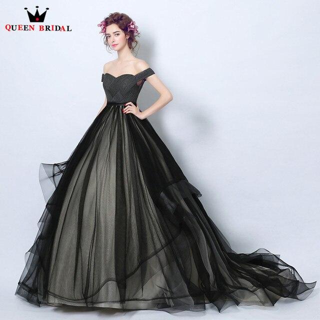 Queen Bridal Evening Dresses Ball Gown Fluffy Black Formal Long