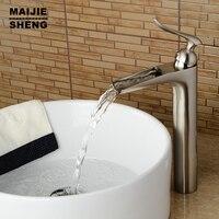 Bathroom tall faucet nickel basin faucet waterfall sink mixer nickel brushed water faucet brushed bathroom faucet high tap