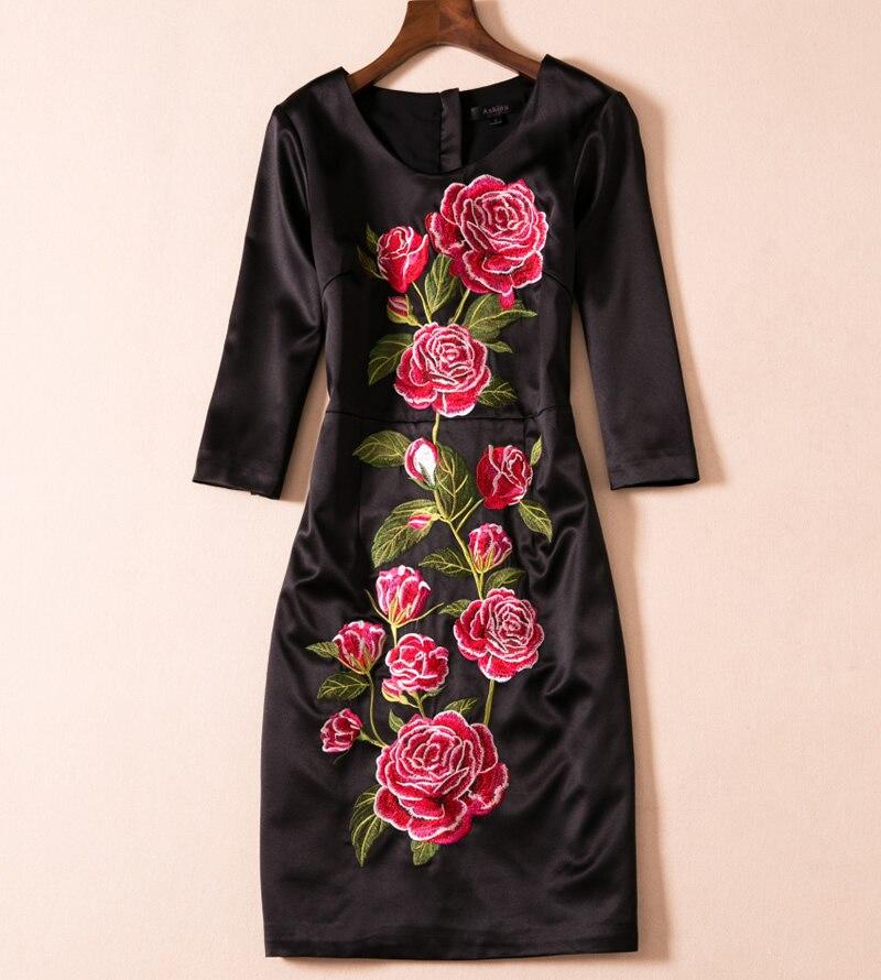 Broderie Nouveau Élégant Fleur Femmes Travail O Robes Noir cou E5518 Dress PxqEHE