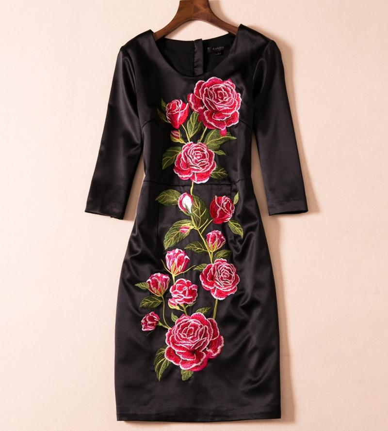Nuove Lavoro Dress Abiti Ricamo Fiore Donne Del E5518 Da O Elegante Il collo Nero PqwHPBIrx