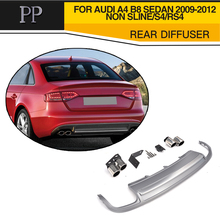 PP Car Styling Rear Diffuser Bumper Lip With Exhaust Muffler For Audi A4 B8 Sedan 4 Door Non Sline S4 RS4 2009-2012