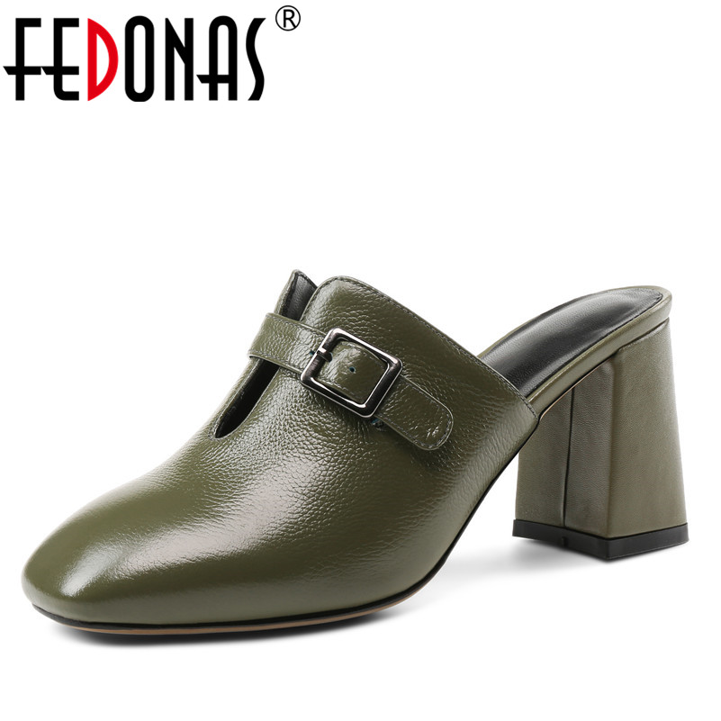 FEDONAS 1Fashion Women Mules Pumps Genuine Leather Brand Design High Heels Shoes Woman Summer Slippers Quality
