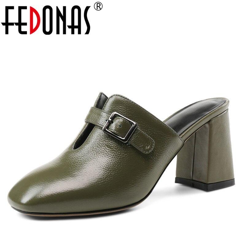 Fedonas 1 패션 여성 뮬 펌프 정품 가죽 브랜드 디자인 하이힐 신발 여성 여름 슬리퍼 품질 얕은 펌프-에서여성용 펌프부터 신발 의  그룹 1
