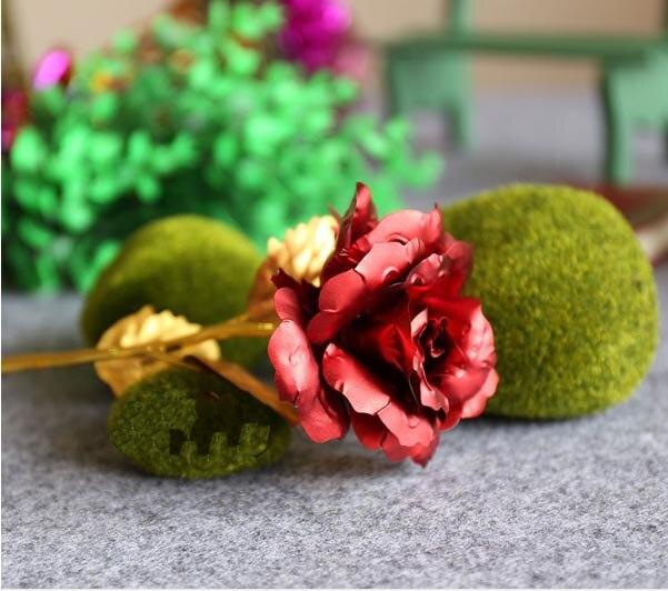 Inicio Decorativo Rojo Rosa Caliente de La Venta 24 k Chapado En Oro Rosa flores