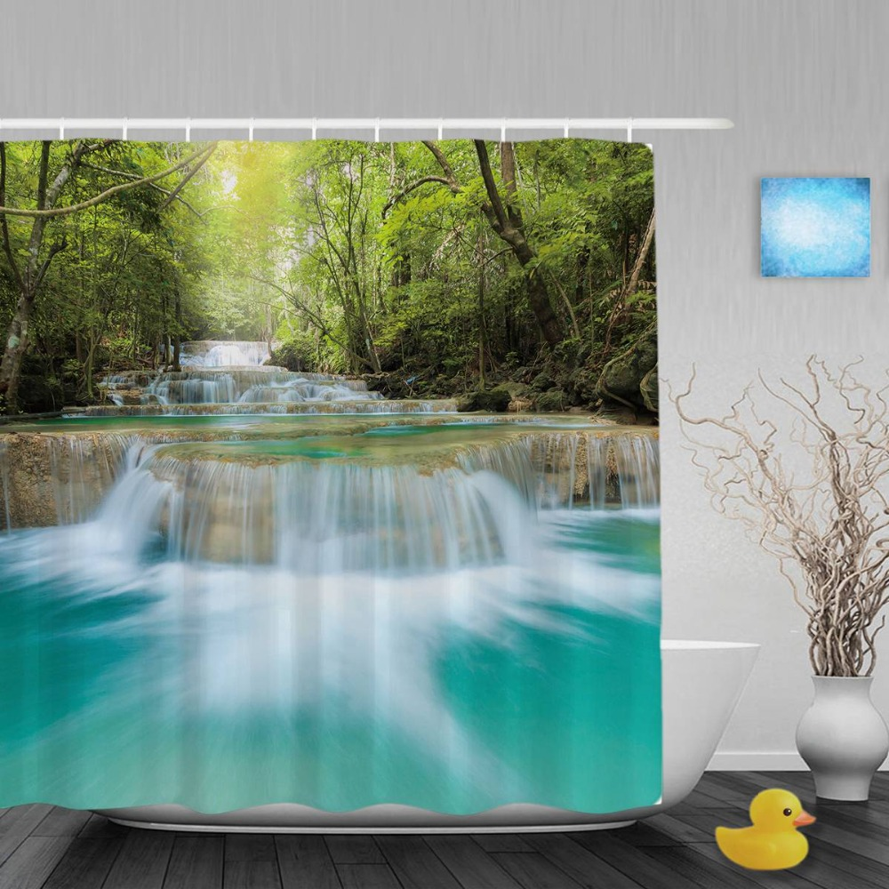 Nature Landscape Shower Curtain Waterfall Trees On Both Sides Bathroom Curtains Waterproof Polyester Fabric With Hooks