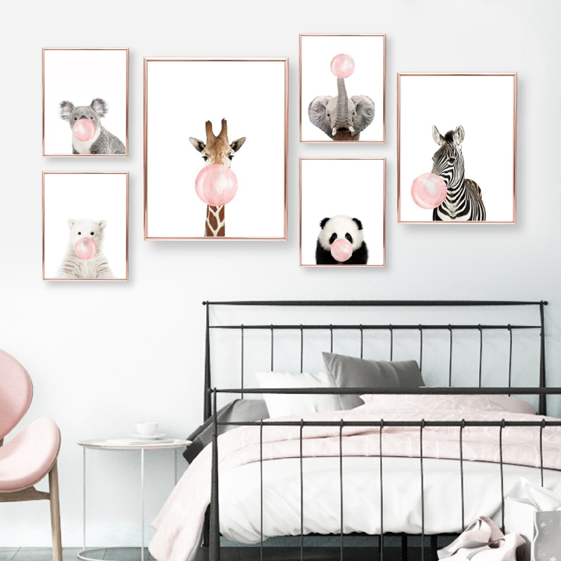 Pink Bubble Gum Giraffe Zebra Safari Animals Posters Canvas Painting Wall Art Nursery Decorative Pictures Prints Kids Room Decor