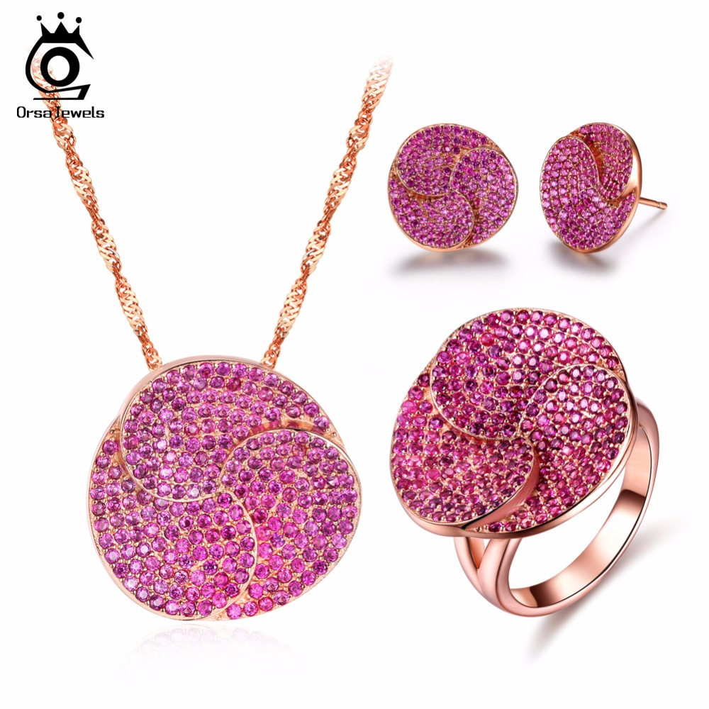 ORSA JEWELS Fashion Rose Gold Color Earrings & Ring & Necklace Jewelry Sets with Micro Paved AAA Cubic Zirconia for Women OS99