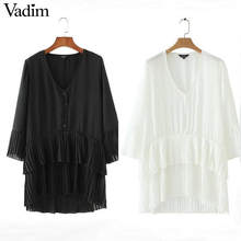 Vadim elegant V neck pleated long chiffon blouse long style long sleeve sweet shirts ladies casual chic tops blusas LA178(China)