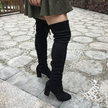Womens Faux Suede Thigh High Boots Thick Chunky Heel Stretch Over the Knee Boots 2016 Black Gray Wine Nude Mud Beige