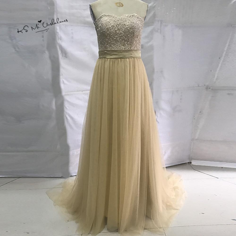 Champagner Spitze Brautjungfernkleider Lange Elegante Prom Kleid ...