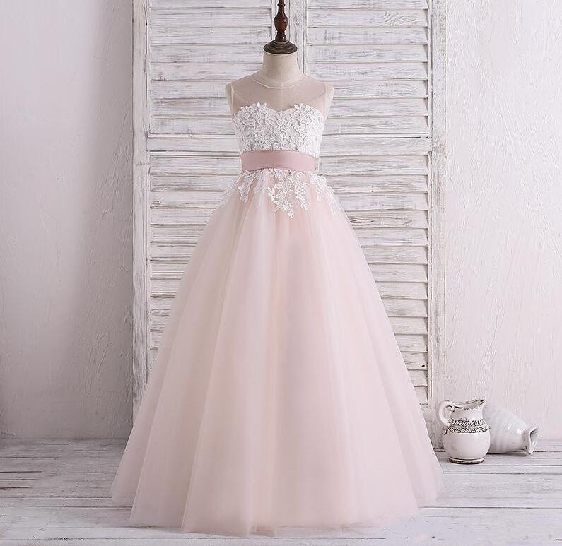 Real Picture Cute Flower Girls Dresses 2018 Sheer Neck Lace Applique Keyhole Back Floor length First Communion Dress Custom Made plus keyhole pleated neck lace panel top