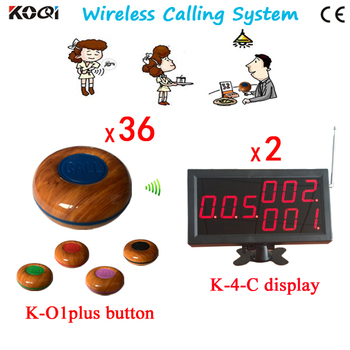 DHL FREE Shipping, One Set of Wireless Calling System For Waiter Server Paging Service ,36 table Bell and 2 Display Receiver