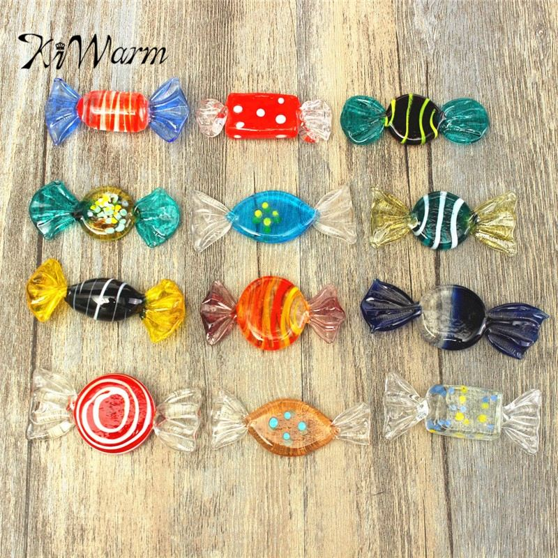 KiWarm 12pcs Colorful Vintage Glass Sweets Wedding Party Candy Christmas Decorations Kids Gift DIY Ornament Crafts