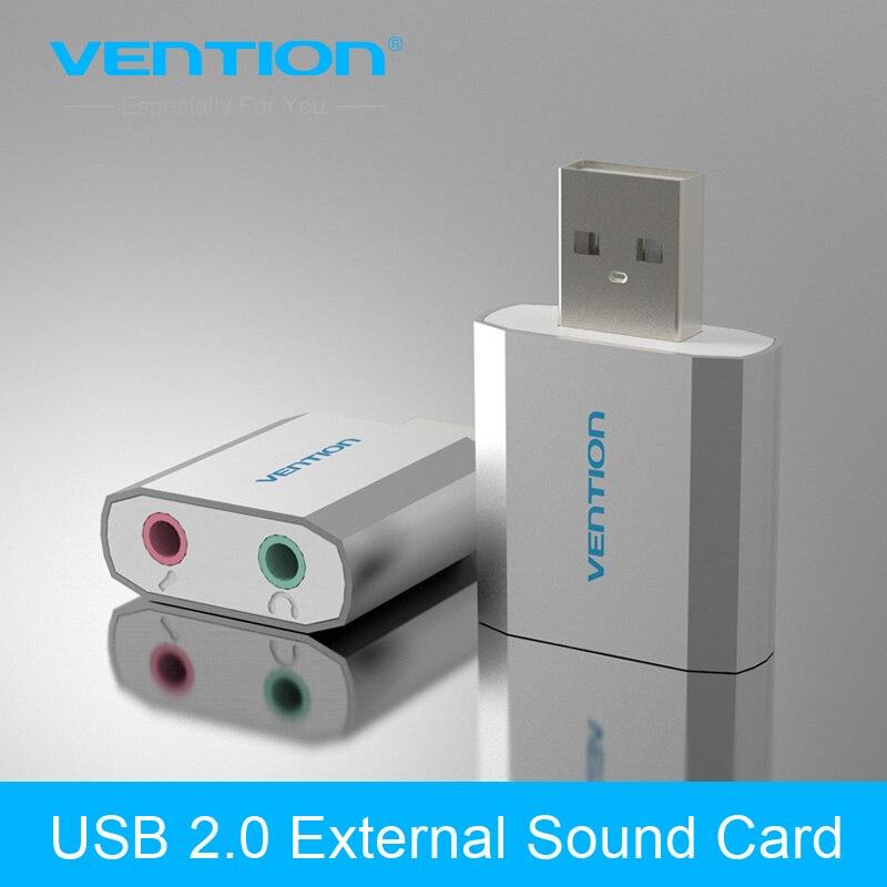 Vention Free Drive USB 2.0 External Sound Card 5.1 Channel Al Mg Alloy USB External Computer Sound Card for Windows/Linux/ Mac
