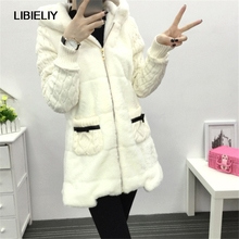 Padded Jacket Women Winter Knit Sleeve Patchwork Faux Fur Thick Coat Long Sections Cotton Padded Parka Women Jacket TT228