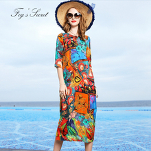 2019 Women Real silk Dress Colorful Print Flower Loose Plus size Dress Unique Tribe XXXL L Size vestidos casuais женские блузки и рубашки unbrand 2015 vestidos l xxxl wcl211