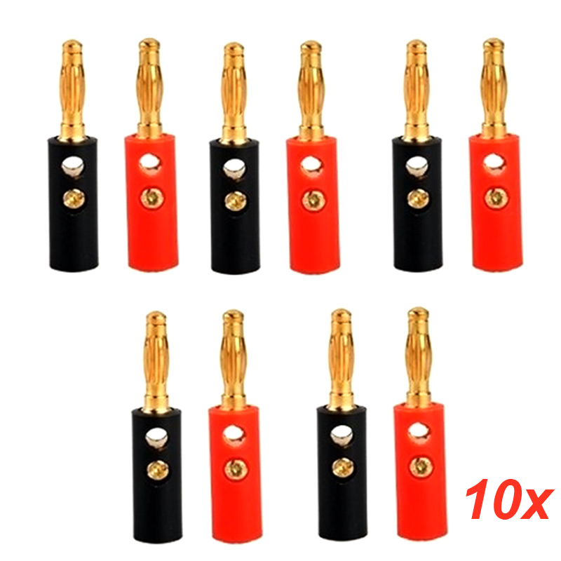 10pcs Audio Speaker Screw Banana Gold Plate Plugs Connectors 4mm Accessories   --M25 4pcs new 4mm plugs gold plated musical speaker cable wire pin banana plug connectors m25