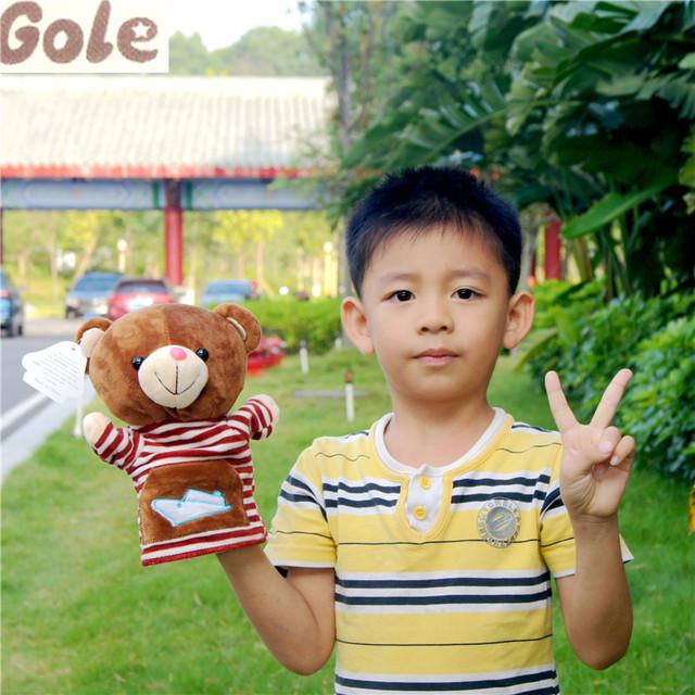 Marionetas de mano Animales Oso Tapa Infantil Juguetes Brinquedo Bebe Unissex Cumpleaños Muñecas Marionetas de Dedo de Animales de Peluche Lindo Del Bebé Oyuncak