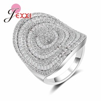 JEXXI Women Full Clear Rhinestone 925 Sterling Silver Rings For Party Anniversary Accessory Vintage CZ Zircon