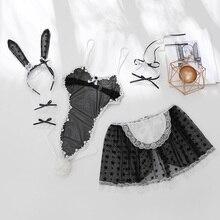 토끼 소녀 드레스 토끼 의상 역할 놀이 3 색 여성 섹시한 토끼 코스프레 바디 슈트 세트 속옷 레오타드 메이드 코스프레