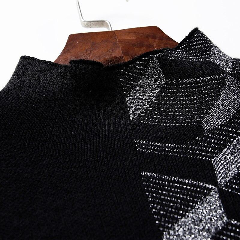 À Plaid Chaude Robe Noir Vente Longues bleu Manches Patchwork Ceinture Robes Élégante Avec Tricoté Femmes Coton EYwxqS
