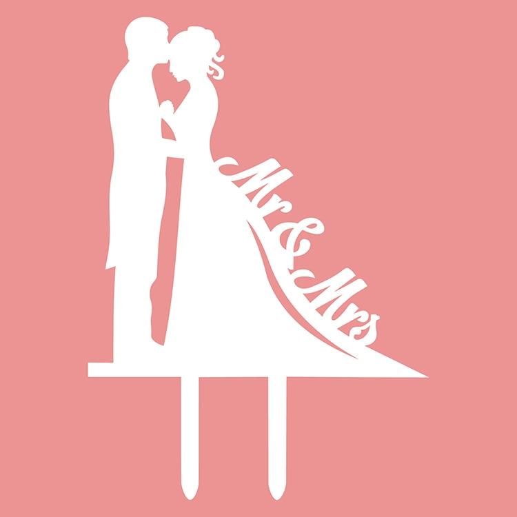 1db multi színek akril esküvői torta zászló tetős Mr & Mrs - Ünnepi és party kellékek