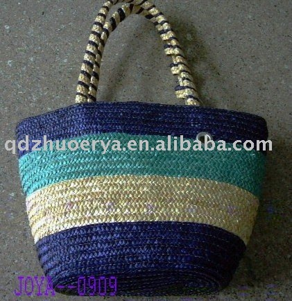 elegance colour stripes wheat straw handbag