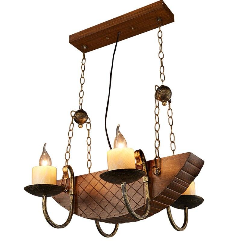 Loft fer pendentif lumières créatif industriel vent café poisson personnalité Vintage américain pirate bateau en bois suspension lampe ya7298