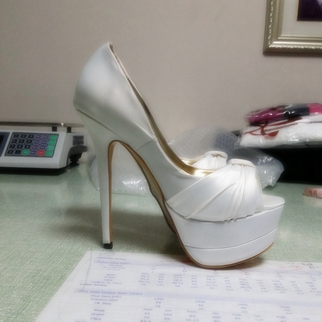 f23661d452a Ivory Satin Women Pumps Platform Shoes Stiletto Heel 12cm Wedding Shoes  High Heels Ladies Shoes 2016 Handmade Zapatos Mujer US14