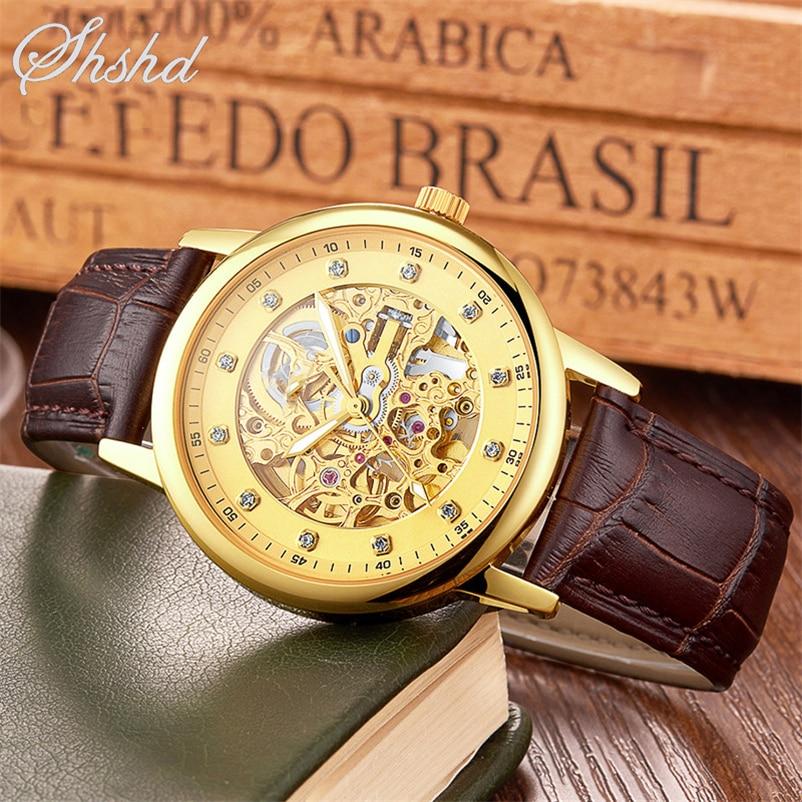 Mens Watch Diamond Automatic Self Wind Mechanical Wristwatches Roman Numbers font b Leather b font Band