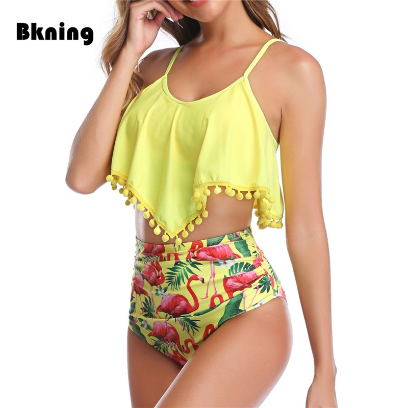 Plus Size Swimwear Women High Waist Bikini 2019 Swimming Suit For Women Yellow Tankini Swimsuit Flamingo Ruffle Large Sizes XXL