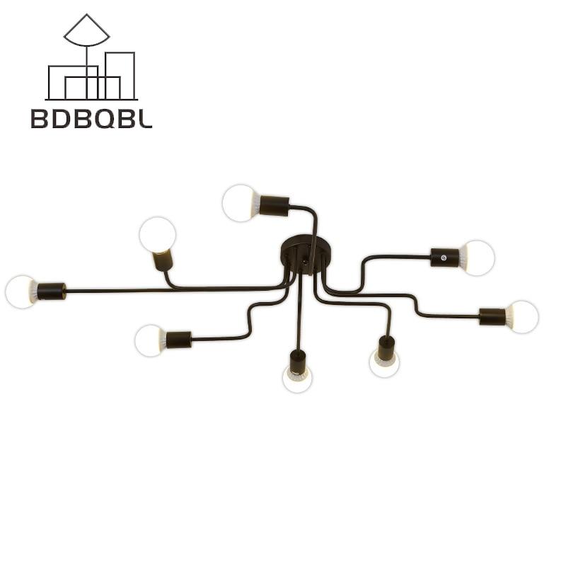 BDBQBL Vintage Ceiling Lights for Living Room Lighting Luminaire Multiple Rod Wrought Iron E27 Bulb Ceiling Lamp Home Decor C-01