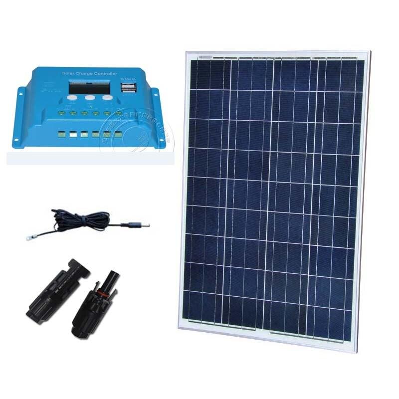 100 w 12 v Placa Kit solaire contrôleur de Charge solaire 12 v/24 v 10A étanche téléphone batterie caravane voiture Camp poisson ventilateur bateau Marine