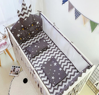 Summer Baby Bedding Set Cotton Breathable Mesh Cot Bumper Newborn Duvetcover Bed Flat Sheet Pillowcase Washable Baby Bed Set