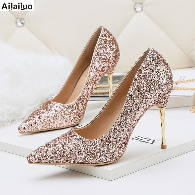 de3c5e3f96c 2018 New Fashion Sexy Women Silver Rhinestone Wedding Shoes Platform Pumps  Red Bottom High Heels Crystal Shoes Gold Black 3051