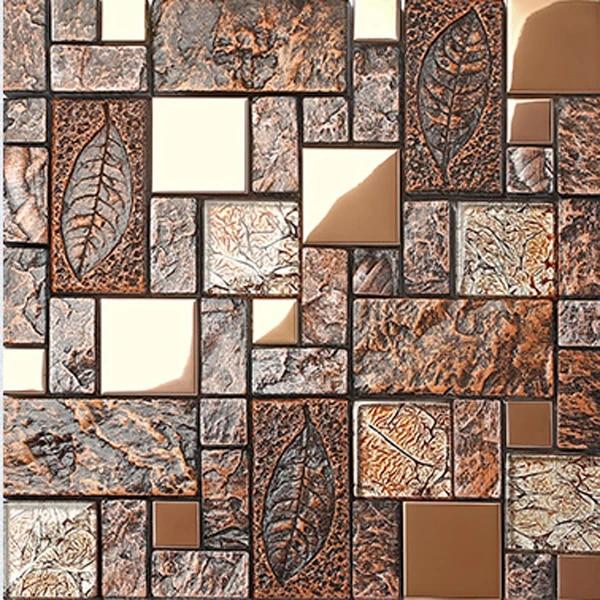 wall tile deco mosaic art fossil leaf resin glass foil porcelain stone brown kitchen wall backsplash tile rustic bathroom wall
