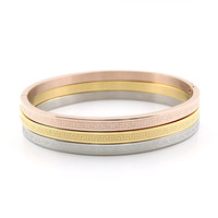 Three Pcs One Set Stainless Steel Rose Gold Couples Bangle Or Ring Carving Great Wall Love