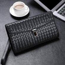 Wmnuo Brand Men Handy Bag Men Clutch Wallets Purse Sheepskin Hand Woven High Quality 2018 Fashion Designer Casual Bag Phone Bag недорого