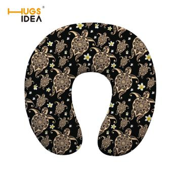 Comfortable U-Shape Travel Pillow Floral Sea Turtle Printed Memory Foam Neck Pillow for Airplane Sleep Travel Car Pillows image
