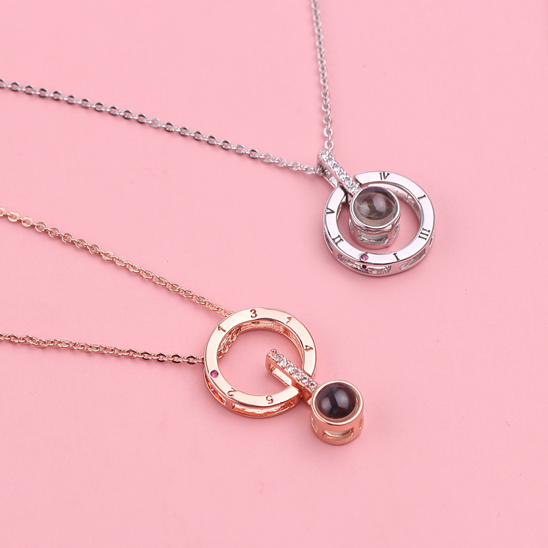 Romantic 100 Languages I Love You Protection Series Necklace Gifts For Women Wife Rose Gold Silver