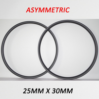 380g DEERACE ASYMMETRIC 29er 25mm x 30mm Hookless Tubeless Carbon MTB Bicycle Wheel ASYMMETRICAL Rims for XC