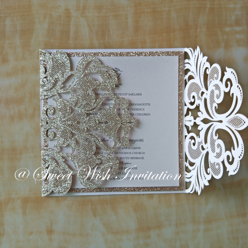 Champagne Gold Personalized Printing Laser Cut Wedding Invitations ...