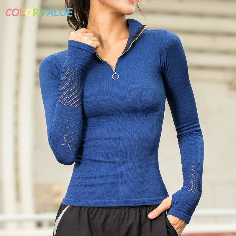 Colorvalue Half Zipper Jogging Sport Coat Women Mandarin Collar Fitness Jersey Hollow Out Training Gym Shirts with Thumb Holes