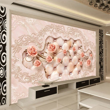 European luxurious silk large mural wallpaper rose pink flower elegant 5d space embossed with leather design home deco