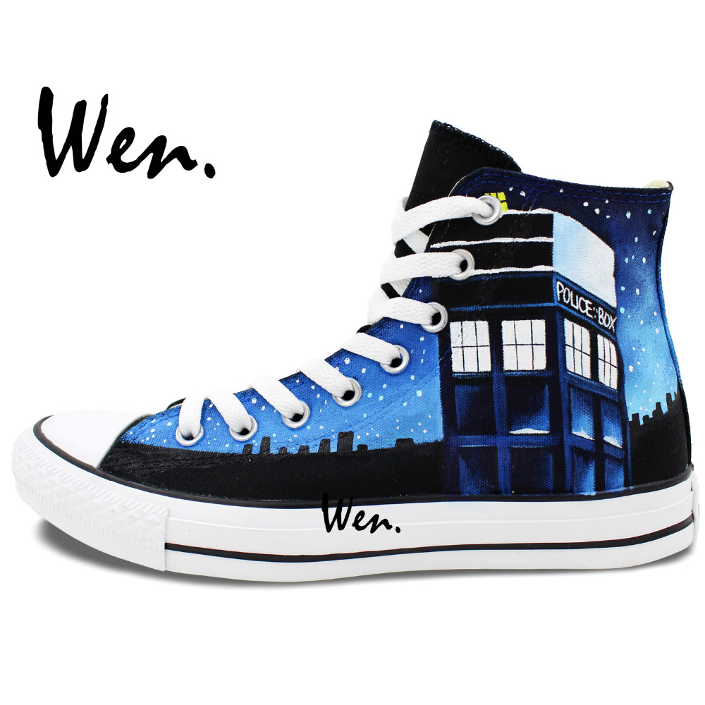 Wen Ručno oslikane Canvas Cipele Dizajn Custom Pandorica Tardis - Tenisice - Foto 3